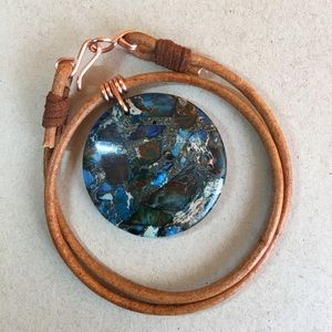 "16"" Sea Sediment Leather Choker Necklace"